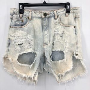 ONE TEASPOON FRANKIES SHORTS DESTROYED FRAY